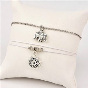 While Elephant Beaded Sun Anklet